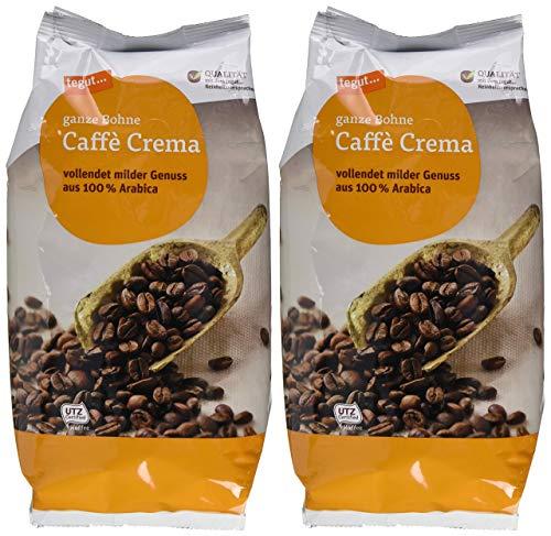 tegut... Café Crema ganze Bohne, 2er Pack (2 x 1 kg)