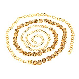 sanjog Golden One Line Stone Metal Kamarband Belly Chains for Women