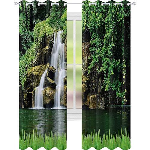 Cortinas de ventana para oscurecer la habitación, doble flujo de cascadas a lago verde natural con arbustos y césped como jardín, 52 x L63 cortinas opacas para dormitorio de niños, verde