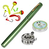 Yogayet Mini Pocket Ice Fly Fishing Rod and Reel Combos Set Aluminum Alloy Pen Fishing Pole 38'' Sea...