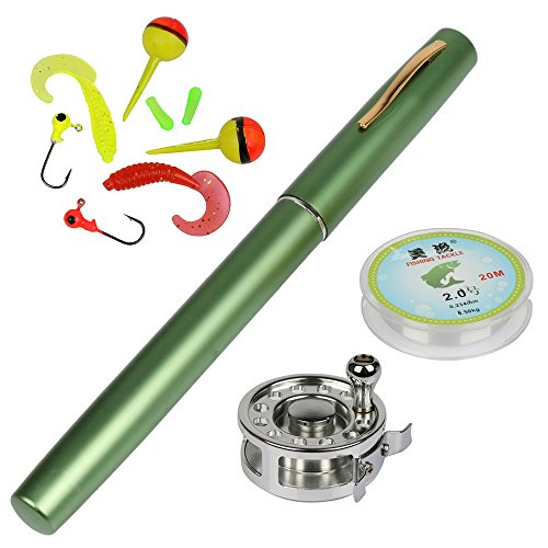 YOGAYET Mini Pocket Ice Fly Fishing Rod and Reel Combos Set Aluminum Alloy Pen Fishing Pole 38'' Sea Saltwater Freshwater Kit Green