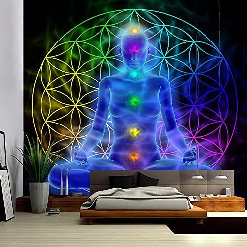 KHKJ Tapiz de Buda Indio para Colgar en la Pared, Tapiz de Mandala, Tela de Pared, Alfombra de Yoga psicodélica, decoración Bohemia A6, 230x180cm