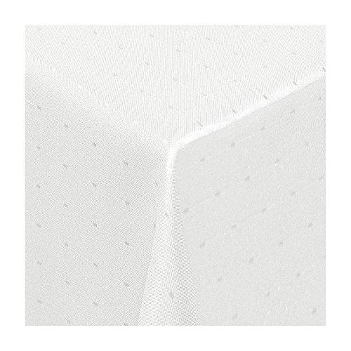 TEXMAXX Damast Tischdecke Maßanfertigung im Punkte-Design in Weiss 120x240 cm eckig,weitere Längen und Farben wählbar