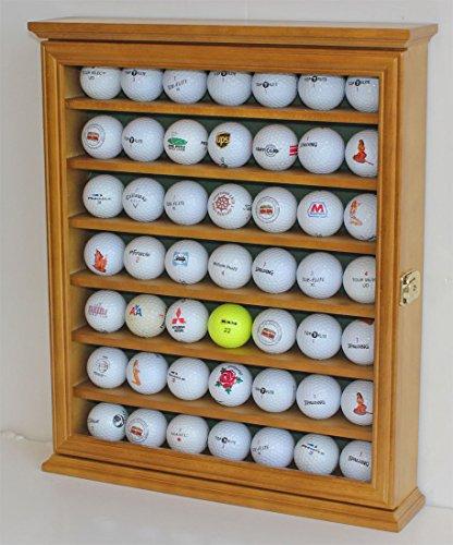 DisplayGifts Solid Beechwood Golf Ball Display Cabinet Case Acrylic Door Wall Rack Holder 98% UV Pro Lockable -49 Balls Oak Finish