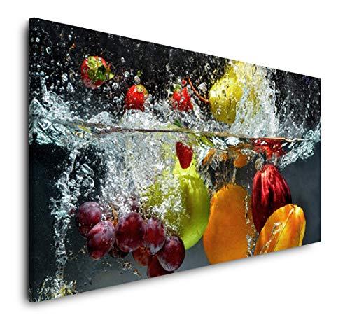 Paul Sinus Art Obst und Gemüse in Wasser 120x 60cm Panorama Leinwand Bild XXL Format Wandbilder Wohnzimmer Wohnung Deko Kunstdrucke