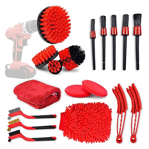 badewanne Car Cleaning Kit 18PCS, Air Conditioner Exit Cleaning Brush Combination, Auto Parts Tool Waxer Sponge Wire Brush Electric Drill Brush