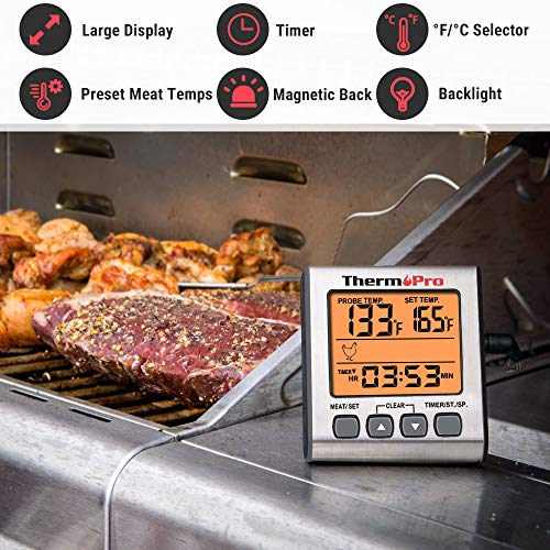 ThermoPro TP-16S Digital Meat Thermometer Smoker Candy Food BBQ Cooking Thermometer for Grilling Oven Deep Fry with Smart Kitchen Timer Mode and Backlight