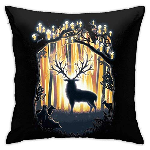 yantaiyu Couch Cushions Deer God Master Of The Forest Anime 45X45Cm Teenagers Pillowcases Pillowslip Chair Sofa Zipped Car Cushion Interiors Printed School Home Birthday Present Sofa Indoor
