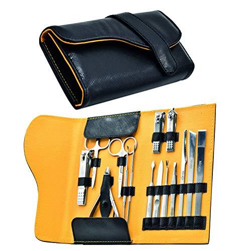 Set Manicure Pedicure Professionale in Acciaio Inox - Kit Portatile Tagliaunghie Tronchesine Levacuticole Lima Forbicine Lame per Duroni - 15 Utensili di Bellezza