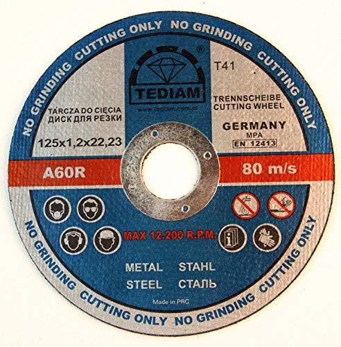 25 Stück Inox Trennscheibe für Stahl, Metall, Edelstahl 125 x 1,2 x 22.23 mm T41 A60 RBF