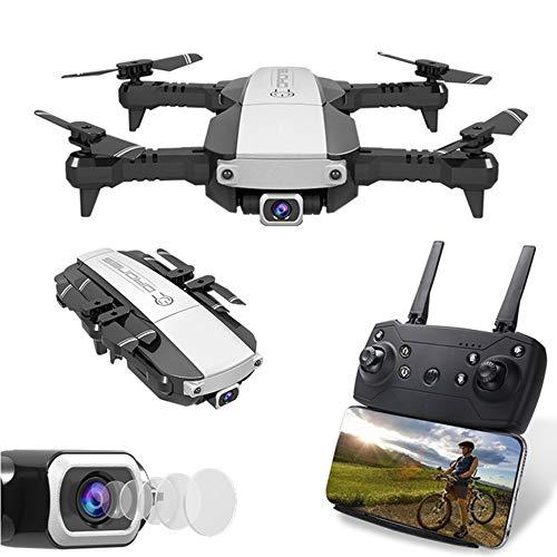 LSXX Drone Remoto Plegable Quadcopter de Disparo 4K HD Helicóptero de Retorno de posicionamiento Operación de aplicación móvil Distancia de Control Remoto de 500 Metros,Plata