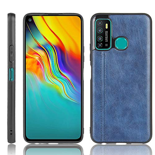 A+Xu Jie For Infinix Hot 9 Shockproof Sewing Cow Pattern Skin Texture PC + PU + TPU Case (Color : Blue)