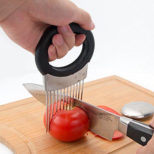 Cortador de cebollas - Cortador de cebollas de mango completo con eliminador de olores, soporte de cebolla para rebanar vegetales, utensilios de cocina de acero inoxidable