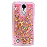 LG Aristo (MS210) / LG LV3 / LG K8 2017 Cover Case, Liquid Case, Asstar Fashion Creative Design Flowing Liquid Floating Luxury Bling Glitter Sparkle Diamond Soft Case for LG V3/MS210 (Gold Pink)