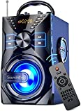 Soundnova K9 (2nd Gen) - 25W Loud Party Portable Bluetooth Speaker with 10W Subwoofer 6000mah Libattery Lights Mic AUX Remote Control U Disk SD TF Card Wooden Wireless Speaker for Home Outdoor Camping