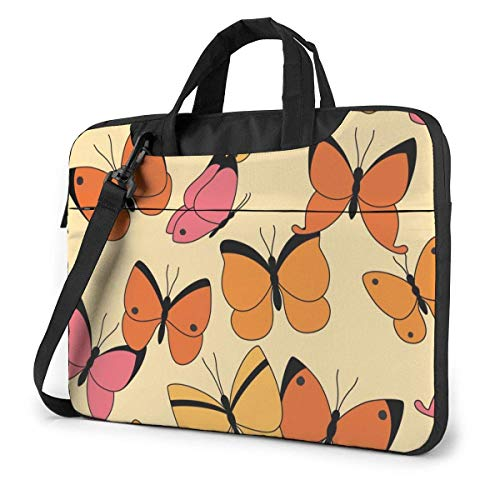 15.6 inch Laptop Shoulder Briefcase Messenger Yellow Orange Pink Hand Painted Butterfly Tablet Bussiness Carrying Handbag Case Sleeve