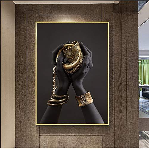 Pulsera africana negra y dorada pintura en lienzo carteles e impresiones sala de estar nórdica sin marco pintura decorativa en lienzo N12 50x70cm