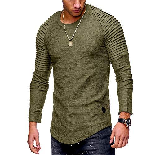 XuBa Herren Slim Fit O-Neck Langarm Muskelshirt Casual Solid Color Tops Bluse Armeegrün XL