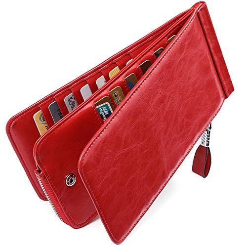Huztencor Carteras Monederos billeteras RFID tarjeteros para Tarjetas de credito Mujer Grandes Hombre Cuero Piel Rojo
