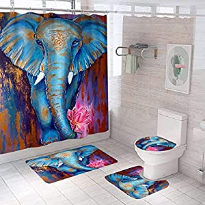 4 Pcs Colorful Art Print Elephant Shower Curtain Wild Animal Painting Shower Curtain Set with Non-Slip Rugs, Toilet Lid Cover and Bath Mat African Elephant Shower Curtain Bathroom Decor with Hooks-M