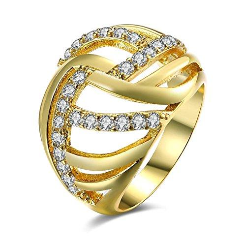 Aeici Placcato Oro Anello per Donne Il Giro Anelli Oro Larghezza: 1.6 Centimetro Dimensione: 15