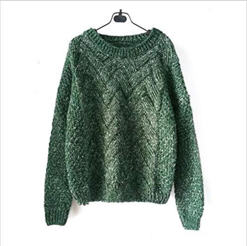 LASISZ Frauen-Pullover-weiblicher beiläufiger Strickjacke-Plaid-Oansatz Lange Hülsen-Mohair-Strickjacke-Herbst-und Winter-Art, Grün, eine Größe