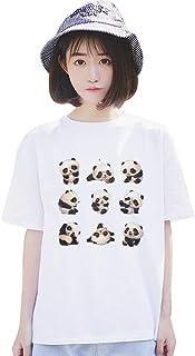 レディース 夏 半袖 ショート丈 可愛い カートゥーン パンダ テーマ シリーズ Tシャツ