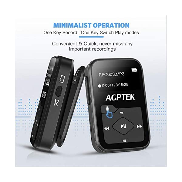 Clip MP3 Player with Bluetooth,16GB Mini Sport Music Player with Headphones, FM Radio,Voice Recorder, TF up to 128GB by AGPTEK 5