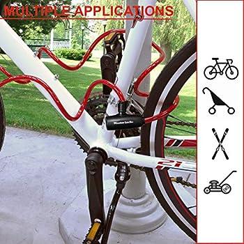 MASTER LOCK Cable Antivol Vélo[Clé] [Extérieur] 8127EURDPRO - Idéal pour Vélo, Vélo Electrique, Skateboard, Poussettes, Tondeuses et autres Equipements, Mixte Adulte, noir(Coloré), 1.8 m Câble
