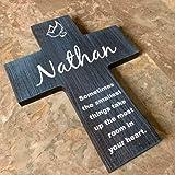 Ced454sy Personalisiertes Holz-Wandkreuz Geschenk für Babys, Taufe, Erstkommunion, Weihnachten, Ostern, Konfirmation, Geschenk