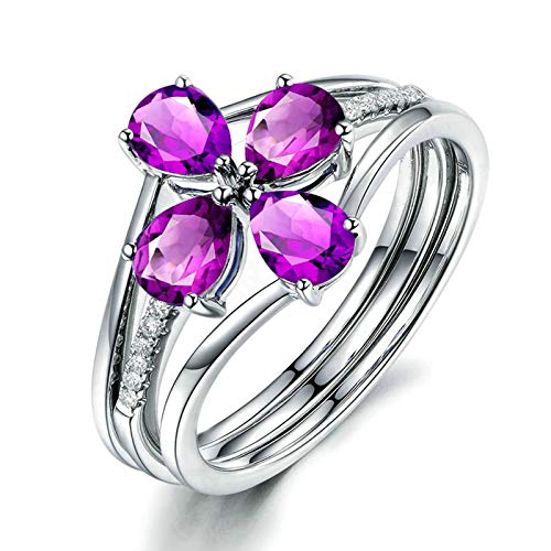 Bishilin Anillos de Alianza de Boda S925 Plata para Novia Forma de Florete Púrpura Pera Cristal Piedra del Zodíaco Anillo de Alianza de Boda de Compromiso de Aniversario Plata Talla: 17