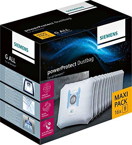 Siemens PowerProtect Staubsaugerbeutel VZ16GALL (16 Stück), mit Verschluss, effizienter Motorschutz, 50% längere Nutzungsdauer, alle Baureihen außer VS08, VS01