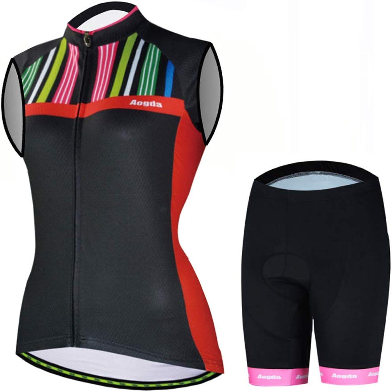 Aogda Cycling Vest Shirts Women's Bike Jerseys Bicycle Set Biking Sleeveless Clothing