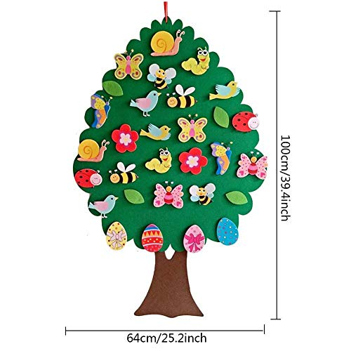 Hearthrousy 2020 Ostern Anhänger Deko DIY Oster Filz Baum Anhänger Ostern Filz Anhänger Set Cartoon Wanddekoration Ostern Geschenk mit vielen Tieren für Kinder