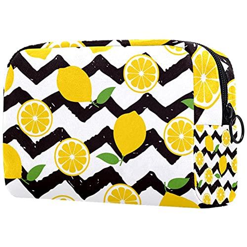Linda bolsa de maquillaje de viaje, bolsa cosmética portátil, organizador de maquillaje para mujeres y niñas (girasoles rayas blancas y negras), Multicolor6, 18.5x7.5x13cm/7.3x3x5.1in, moderno