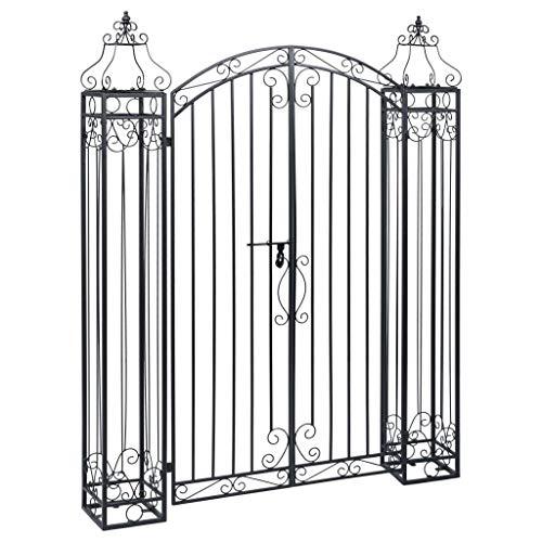 Goliraya Tidyard Cancello Ornamentale da Giardino a Doppia Anta in Ferro Battuto,Cacello per Recinzione,Cancello in Metallo,Cancello da Esterno,Cancello in Acciaio 122x20,5x160 cm