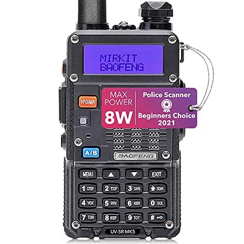 Mirkit Radio Baofeng UV-5R MK5 8 Watt Max Power 2021 1800 mAh Li-Ion Battery Pack Baofeng Radio Analog Police Scanner, Race Scanner, Emergency Radio, fire Scanner for Home use