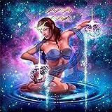 zeyungood Cuadro de diamantes 5D DIY 5D, pintura de diamantes de imitación con 12 constelaciones, punto de cruz, decoración de pared, 45 x 45 cm (Acuario)