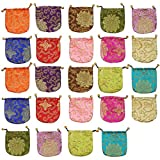 kilofly Chinese Silk Brocade Drawstring Jewelry Pouch Bag Value Set, 24 pcs