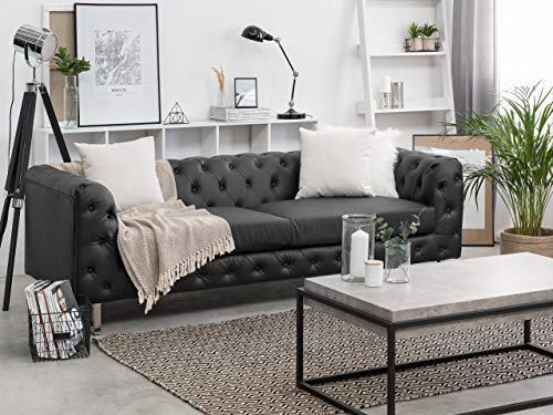 Beliani Klassisches 3er Sofa Kunstleder Chesterfield Stil schwarz Vissland