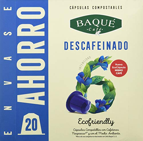Cafés Baqué - 20 Capsulas Compatibles Nespresso Descafeina