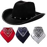 Black Cowboy Hat and 3 Pcs Bandana for Cowboy Halloween...