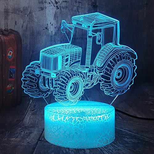 Traktor 3D Illusion neben Tischlampe 16 Farbwechsel Dimmbare Beleuchtung USB Charge Touch Remote Tisch Schreibtisch Nachtlicht Schlafzimmer Wohnzimmer Inneneinrichtung