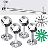 Yotako 4 PCS Curtain Rod Ceiling Bracket, Stainless Steel Shower Closet Rod Holder Pipe Wardrobe Pole Holder Flange Socket 25mm/1'',32mm/1.25'' Diameter Closet Lever Support with Anchor and Screw Kit