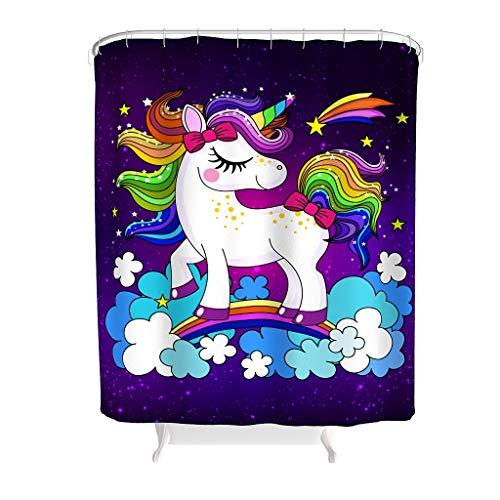 HXshqian polyester Unicorn douchegordijn en met ringen badkamer douchegordijn