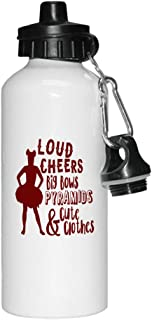 Style In Print Maroon Loud Cheers Big Bows Pyramids Cute & Clothes Aluminun White Water Bottle