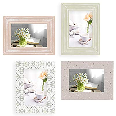 4x6 Picture Frames Set of 4 For Wall Collage - Wood, Turquoise, White & Gray - Table Top & Wall Mount Photo Frame Sets For Office Gallery - Vertical & Horizontal - Rustic Home Decor Picture Frame
