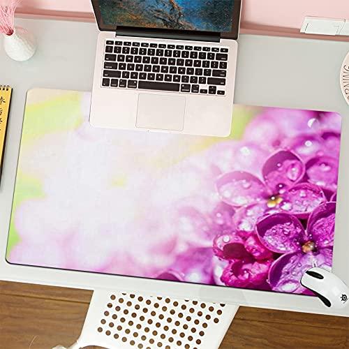 Alfombrilla para ratón (80x30 cm). Hermosas Flores Lilas Gotas De Rocío Naturaleza Soleada Floración Flor Pétalo FloreteBase Antideslizante. Especial para Gamer