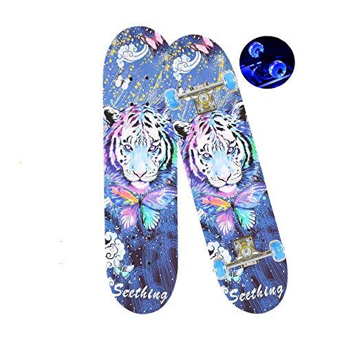 YSCYLY Skateboard,79 * 20 cm Mit Flash Wheel ABEC-7 Chromstahllager,Cruiser Boards FüR MäDchen Und Jungen