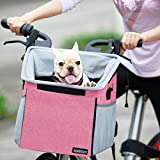 Pet Carrier Bicycle Basket Bag Pet Carrier/Booster Backpack for Dogs and Cats with Big Side Pockets,Comfy & Padded Shoulder Strap,Travel with Your Pet Safety(Pink)